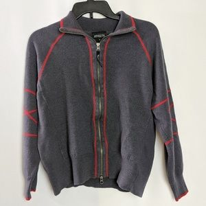 Athleta Sweaters - Athleta Merino Wool Gray w/ Red Piping Jacket XL